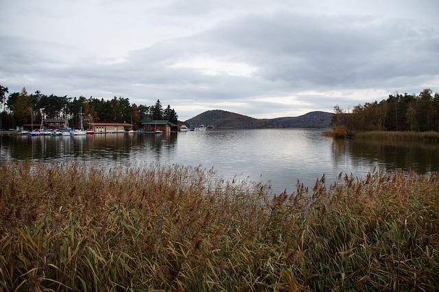 chatky a lodě u Máchova jezera